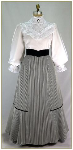 Stripe Peplum Skirt, Style Source by StephNov dresses victorian Old Dresses, Vintage Dresses, Vintage Outfits, Victorian Dresses, Victorian Maid, 1900s Fashion, Edwardian Fashion, Vintage Fashion, Edwardian Clothing