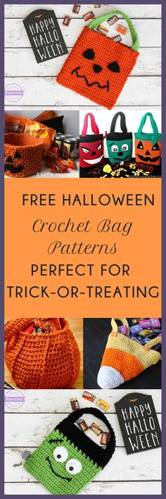 Want to add a personal touch to halloween for your kids? Make them their own trick-or-treat bags with these FREE crochet halloween bag patterns ! Come check them out at https://www.themodernnestblog.com/archives/1436