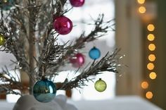 Silver tinsel tree and pastel ornaments