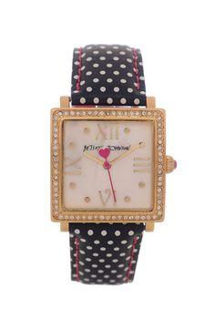 Betsey Johnson 'Bling Bling Time' Square Polka Dot Watch | Nordstrom