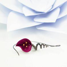 Spiral earrings purple flower earrings silver earrings