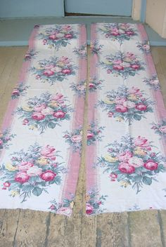 Vintage Barkcloth Pink Roses Fabric Panel Pebblecloth Pink Cream Cottage Chic 3 of 4 by SimplyCottageChic on Etsy