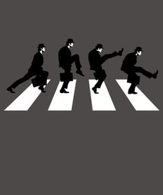 """The Ministry of Silly Walks takes on Abbey Road. Art by Baznet/JBaz. """"Silly Road"""" is a Monty Python parody of Abbey Road. Abbey Road, L Wallpaper, Funny Tee Shirts, T Shirt, Beatles Art, Pop Rock, Monty Python, About Time Movie, Cultura Pop"""