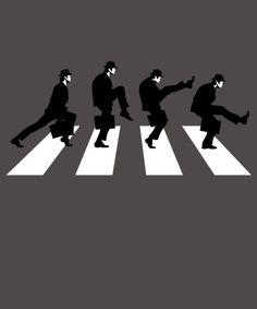 "The Ministry of Silly Walks takes on Abbey Road. Art by Baznet/JBaz. ""Silly Road"" is a Monty Python parody of Abbey Road. Abbey Road, Superhero Texts, L Wallpaper, Funny Tee Shirts, T Shirt, Zebra Crossing, Beatles Art, Pop Rock, Monty Python"