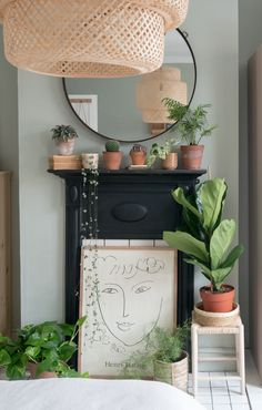 How to style a Victorian fireplace and mantle with plants, terracotta, rattan and boho interiors decor Small Fireplace, Bedroom Fireplace, Faux Fireplace, Stone Fireplaces, Bedroom Plants Decor, Plant Decor, George Nelson, Sage Green Bedroom, Victorian Fireplace