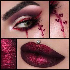 Broken with dark blood lip Queen Of Hearts Palette, Queen Of Hearts Makeup, Drag Queen Makeup, Day Eye Makeup, Simple Eye Makeup, Red Glitter Eyeshadow, Broken Makeup, Dark Red Lips, Doll Makeup