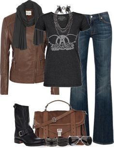 Image result for rocker chic style with brown accessories
