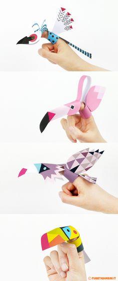 Marionette di carta da dito da stampare e costruire dedicate agli uccelli