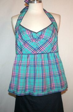 "Anthropologie Edme & Esyllte ""Throw a Curve"" Plaid Halter Top Sz 8 #Anthropologie #Halter #Casual"