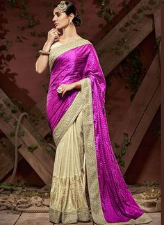 Enormous Purple Crepe Embroidery Border Work  Indian Designer Saree At Best Price By Uttamvastra - Online Shopping For Women