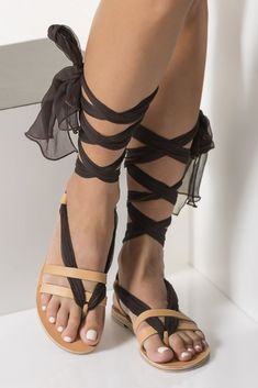 "Lace up sandals with silk laces, Customizable ""Nephele"" - Greek Chic Handmades Bohemian Sandals, Lace Up Sandals, Gladiator Sandals, Leather Sandals, Summer Shoes, Summer Outfits, Mother Pearl, Resort Wear, Fashion Shoes"