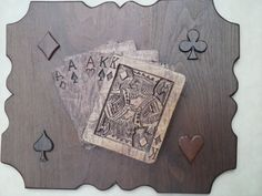 Wall hanging - Carved Wood - Playing Cards - Poker Hand - Maple - Full House - King of Diamonds - Maple Cards - Walnut Plaque