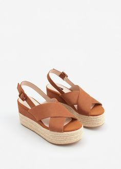 Cuña piel esparto - Zapatos de Mujer | MANGO México