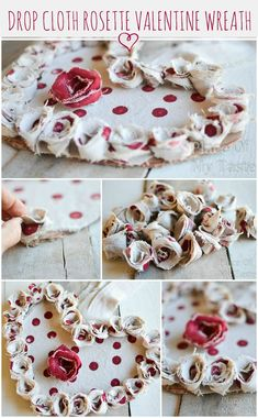DROP CLOTH ROSETTE VALENTINE WREATH - Place Of My Taste