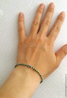 """Купить Браслет из серебра 925 и малахита. """"Нежность малахита"""". - зеленый, зеленый браслет, браслет с малахитом"""