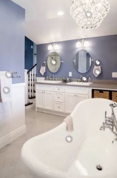 Get inspired by Coastal Bathroom Design photo by Wayfair. Wayfair lets you find the designer products in the photo and get ideas from thousands of other Coastal Bathroom Design photos. Coastal Paint Colors, Room Paint Colors, Interior Paint Colors, Paint Colors For Living Room, Paint Colors For Home, Bluish Gray Paint, Blue Gray Paint Colors, Neutral Paint, Pedestal Tub