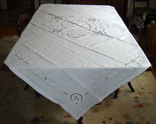 Square White Linen Tablecloth with Venetian Lace Inserts