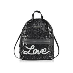 Love Moschino Handbags Love Sequins Metallic Black Backpack (€215) ❤ liked on Polyvore featuring bags, backpacks, black, handbags, faux-leather backpack, day pack rucksack, zip bag, faux-leather bags and zip backpack