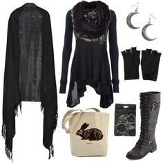 """Minus the fingerless gloves... """"casual forest witch"""" by n-nyx on Polyvore"""