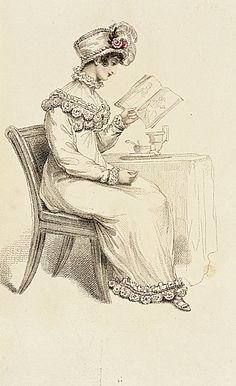 La Belle Assemblee, Morning Dress, July 1815. OMG…she's LOOKING at fashion plates! Y'all- that's US!