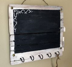 Small Rustic Chalkboard and Key Holder  - Reclaimed pallet wood  - Memo Board
