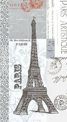 Napkin/Guest Towel - Paris Artistique - Eiffel Tower by Paper Products Design. $11.05. 15 per package, 3-ply. Artwork by Paula Scaletta. French, fun and fanciful!. French themed guest towel/buffet napkin with Eiffel Tower. Artwork on all panels. This guest towel/buffet size napkin will be perfect for your French themed event!  The collage format of Paula Scaletta's artwork surrounds this napkin with the Eiffel Tower, French addresses,  and French postmarks.  The ...