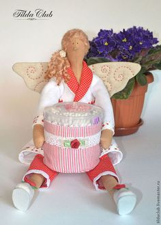 Куклы Тильды ручной работы. Ярмарка Мастеров - ручная работа. Купить Банный ангел Тильда: Хранительница ватных палочек №2. Handmade.