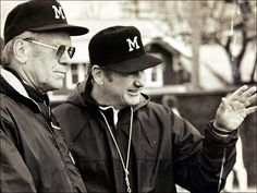 Former President Gerald Ford visited then-Michigan football coach Bo Schembechler. Ford played for the Wolverines.
