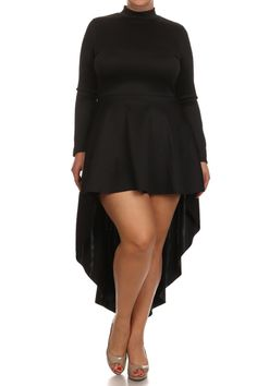 Plus Size Sexy Dip Hem Long Sleeve Dress – PLUSSIZEFIX
