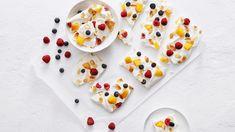 Fruity Frozen Yogurt Bark | Clean Eating Vinegar And Honey, Rice Vinegar, Frozen Fruit, Frozen Yogurt, Yogurt Bark Recipe, Light Snacks, Chocolate Bark, No Calorie Foods, Food To Make