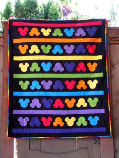 Mickey Mouse Rainbow Quilt Ready to Ship 55 x 46. $175.00 USD, via Etsy.