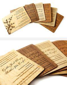 Houten kaarten/ uitnodiging