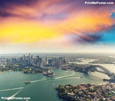 Poster of Sunset over Sydney Harbour, helicopter view #poster #walldecor  #printmeposter