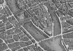 The most elaborate example of this kind of isometric projection—indeed, the undoubted nonpareil—is the Turgot Map of Paris, named after its commissioner Michel-Étienne Turgot. The map was issued originally in a series of 20 engraved plates from 1734–1736.