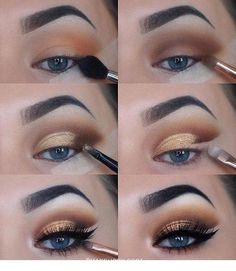 Pretty Gold and Black makeup Pretty Gold and Black makeup – Das schönste Make-up Eye Makeup Steps, Makeup Eye Looks, Eye Makeup Art, Gold Makeup, Skin Makeup, Eyeshadow Makeup, Makeup Tips, Makeup Ideas, Makeup Inspo