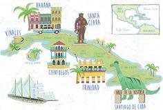 Cuba Illustrated Map, Havana, Santa Clara, Vinales, Cienfuegos, Trinidad, Santiago de Cuba - Bek Cruddace