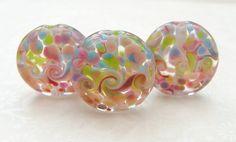 Lampwork Glass Beads Foxglove Power Swirls UK by shineon2 on Etsy, £9.75