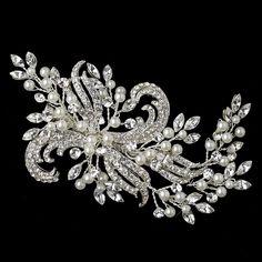 Beautiful Silver Plated Pearl and Rhinestone Wedding Hair Clip - Affordable Elegance Bridal -