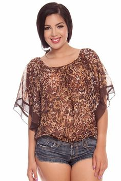 BROWN SHEER CHIFFON ANIMAL PRINT CASUAL TOP,Womens Casual Top-Casual Tops,Fashion Tops,Cute Tops,Shirt Tops,Casual Tops Sale,Off the Shoulde...