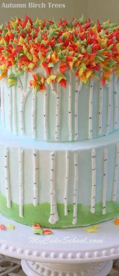 An Autumn Cake Tutorial by ! An Autumn Cake Tutorial by ! Birch Tree Cakes, Birch Trees, Cake Decorating Piping, Cookie Decorating, Decorating Ideas, Creative Cake Decorating, Decor Ideas, Pretty Cakes, Beautiful Cakes