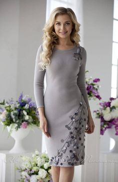 """Knitted warm dress with """"Milky Way"""" smoke-gray color with with handmade decor! Warm Dresses, Elegant Dresses, Cute Dresses, Vestidos Plus Size, Embroidery Dress, Pakistani Dresses, Knit Dress, Buy Dress, African Fashion"""