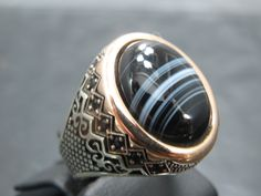 Turkish Handmade Ottoman Style 925 Sterling Silver Agate Men's Ring by TolsanJewelry on Etsy
