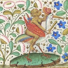 Monkey, holding club and shield, seated astride fantastic bird resembling crane | Book of Hours | France, Paris | ca. 1460 | The Morgan Library & Museum