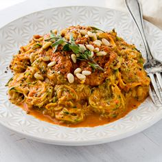 Zucchini Noodles with Creamy Red Pepper Sauce! #SkinnyMs #ZucchiniRecipes