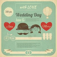 Wedding Invitation in Retro Infographics Style. Vintage Design, Square Format. Illustration. Stock Photo - 19218291