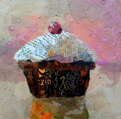 "ART AND LIFE of a figurative collage artist from Orlando, FL. Creating ""Paintings"" with bits of torn paper, applied as brush strokes! Vintage Cupcake, Cupcake Art, Cupcake Fondant, Rose Cupcake, Cupcake Toppers, Collages, Collage Artists, Collage Making, Fabric Painting"