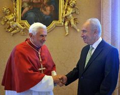 Masonic Handshake ::  Pope Benedict XVI and Shimon Peres