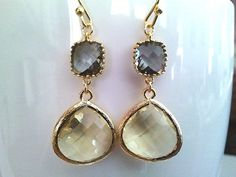 Autumn in Love Lemon and Gray Gold Earrings ,Drop, Dangle, Yellow Earrings, Gemstone,Wedding jewelry,christmas gift, cocktail jewelry on Etsy, $26.00