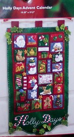Bucilla HOLLY DAYS Felt Christmas Advent Calendar Kit-RARE Santa Toys MIP #Bucilla