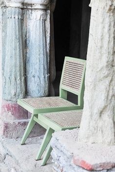 Inspired by Pierre Jeanneret, the Cane Dining Chair features a woven rattan seat and back on a solid timber frame.  Available in natural rattan, hand painted.   Dimensions 44cm W x 52cm D x 87cm H.  Seat Height: 45cm